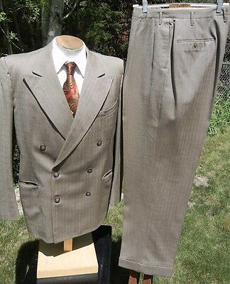 Vintage Early 1950s Double Breasted Suit 38L 34x32 - an A-1 SWING ERA Gangster