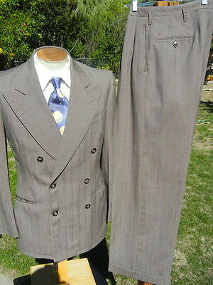 Vintage 1940s Double Breasted Pinstripe Suit 38R 29x31 - Great Gangster XLNT CON