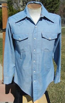 Vintage 1970s BIG MAC Western Snap Shirt 14 Small - Wing Collar - Mint Condition