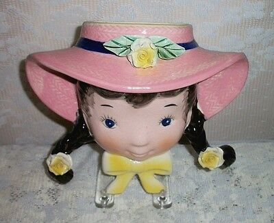 Vintage Ceramic Little Girl With Pigtails And Pink Hat Wall Pocket