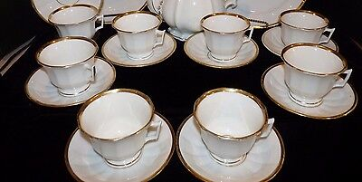 Old Paris White Porcelain Gold Wedding Band Cup & Saucer Unmarked Limoges SET/8