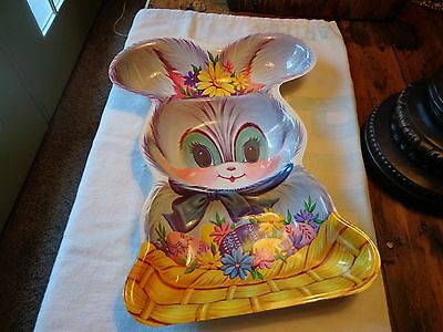 "Vintage Plastic Easter  Rabbit Candy Dish 13 1/4"" x 10"""