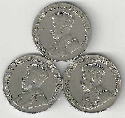 3 OLDER 5 CENT COINS from CANADA (1928, 1929 & 1934)