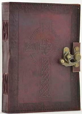 "6""x8"" Celtic Cross Leather Locking Book of Shadows Journal Diary"