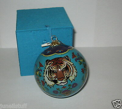 Reverse Painted Tiger Glass Blue Multi Color Christmas Ornament