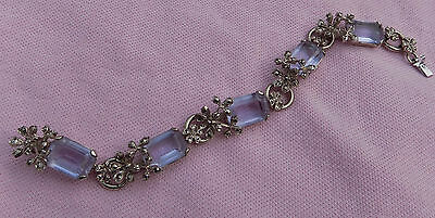 Vintage Antique Art Deco Silver Marcasite Big Pink Purple Crystal Glass Bracelet