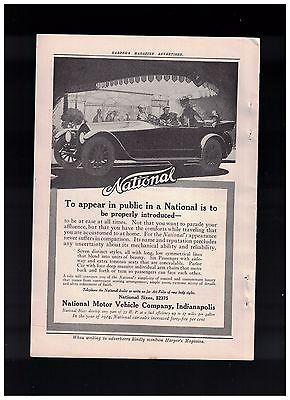 Nice Illustration Of The Car  1915 National Motor Vehicle Co of Indianapolis Ad