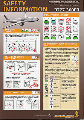 Safety Card Singapore Airlines Boeing B777-300er! Boeing 777