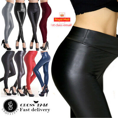 Ladies High Waist Black Faux Leather Leggings Wet Look Shiny Stretchy Pant*HigwT