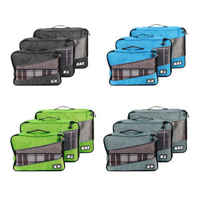 3pcs Travel Packing Cube Clothes Storage Suitcase Bags Luggage Organizer Pouch