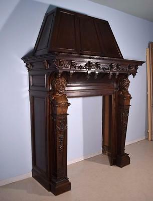 Massive Antique French Fireplace Surround/Mantle in Walnut w Baccus Woodcarvings