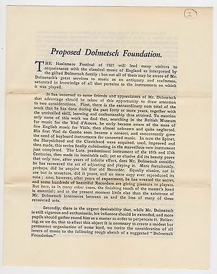 1927 St Clements Press print Proposed Dolmetsch Foundation brochure