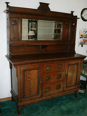 1903 Antique Arts and Crafts Sideboard / Buffet & Hutch Water Lily Deco Handles