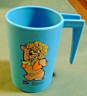 1971 Vintage Hair Bear Plastic Cup With Handle Hanna Barbera Productions