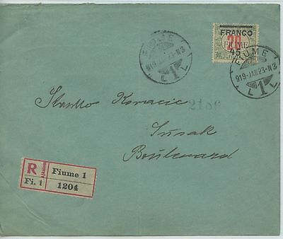 FIUME--Registered cover sent in 1919 with Scott #J11c