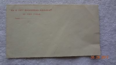 Wwi Mailing Envelope Co D 18Th Engineers Railway In The Field