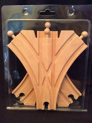 Double Curved Switch Track Set Of 2 Pieces Train 3 Way Wood Compatible New Pack