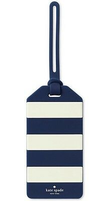 Kate Spade New York Luggage Tag NAVY Rugby Stripe Navy/White 165630 NWT