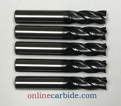 "5 PCS - 3/8"" 4FL CARBIDE END MILL - REGULAR LENGTH - TiALN COATED"