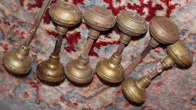 Lot set 10 vintage antique brass shaped door knobs with stems in common pattern