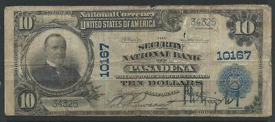 1902 $10 - SECURITY NATIONAL BANK of PASADENA CALIFORNIA - ch.10167 - tear/thin