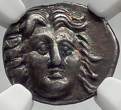 RHODES Island off Caria - Helios of COLOSSUS & Rose Silver Greek Coin NGC i61960