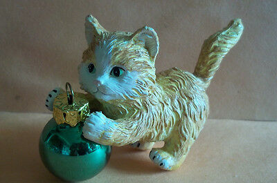 "Resin Ornament of Kitten Playing w/Small Round Green Ball Ornament - 2 1/8"" Tall"