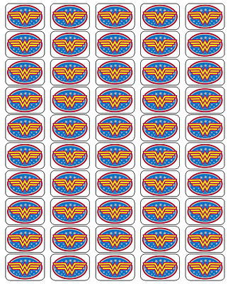 "50 Wonder Woman Logo Envelope Seals / Labels / Stickers, 1"" by 1.5"""