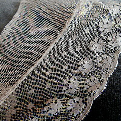 """Tulle Antique LACE LOT 2 yd 14"""" Flounce Embroidered Trim Double wide"""