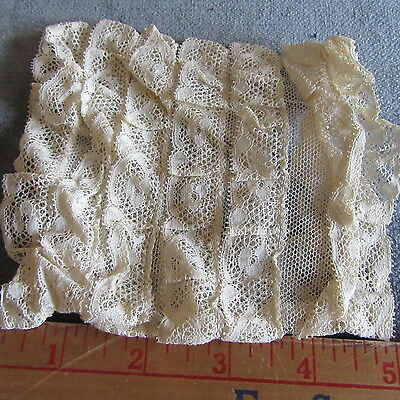 Antique VALENCIENNES LACE dress Cuffs Petticoat RUFFLES Tiered Dolls LOT OF 2