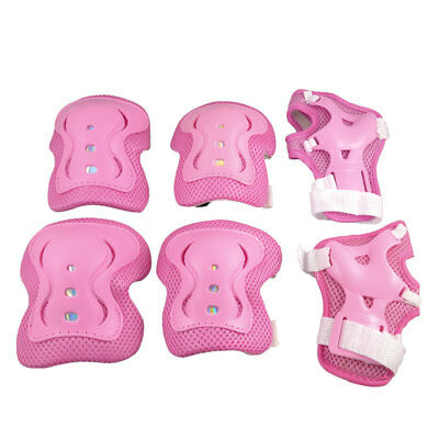 Skate Bicycle Plastic Wrist Elbow Knee Pads Support Brace Pink White 6 in 1 Set