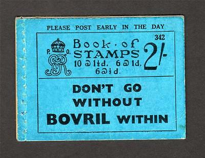 George V 2/- Booklet Sg Bb17 Ed. 342 - Incomplete/exploded Contains No Stamps