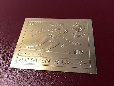 23 kt GOLD STAMPS / TIMBRES EN OR Ajman JO Olympic games Sapporo 1972 ski imperf