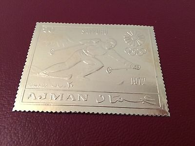 23 kt GOLD STAMPS / TIMBRES EN OR Ajman JO Olympic games Sapporo 1972 ski perf