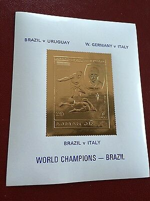 23 kt GOLD STAMPS / TIMBRES OR Ajman imperf sheet FIFA 1970 Mexico soccer Brazil