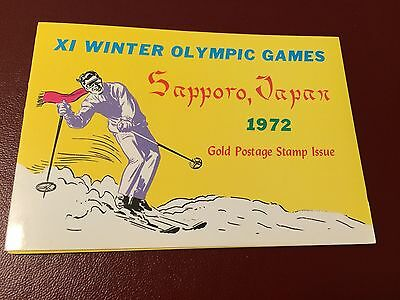 23 kt GOLD STAMPS / TIMBRES OR Ras Al Khaima JO Olympic games ski folder carnet