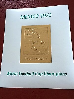 23 kt GOLD STAMPS TIMBRES OR Ras Al Khaima imperf sheet FIFA 1970 Mexico soccer