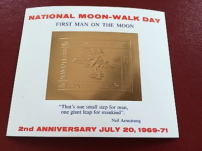 23 kt GOLD STAMPS / TIMBRES EN OR Manama sheet First man on moon space Armstrong