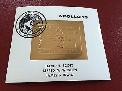 23 kt GOLD STAMPS TIMBRES EN OR Manama imperf sheet Apollo 15 SPACE moon landing