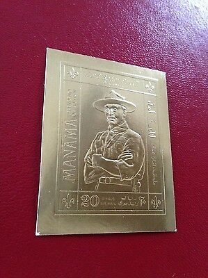23 kt GOLD STAMPS / TIMBRES EN OR Manama imperf Lord Baden Powell boy scout