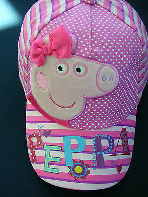 """GIRL'S """"PEPPA PIG"""" Toddlers 3D Satin Bow Striped Baseball Hat - Cap"""