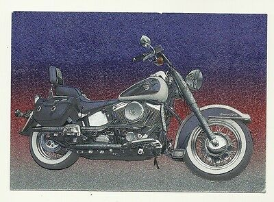 Harley Davidson Motorcycle - an artist's impression on a modern postcard