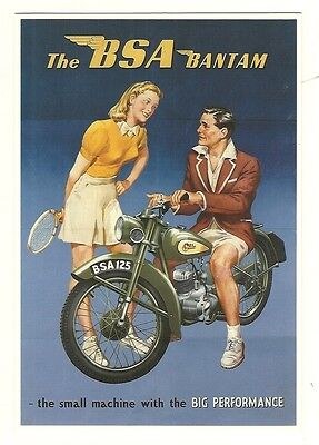BSA Motorcycle - an advert reproduced on a modern postcard