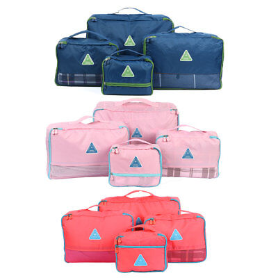 4 x Travel Packing Cube Clothes Storage Compression Bags Luggage Organizer Pouch
