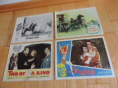 4 old MOVIE LOBBY CARDS TWO OF A KIND,SAVAGE FURY,DISEMBODIED SIERRAS ORIGINAL