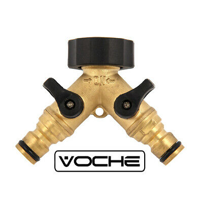 Voche® Solid Brass 2 Way Double Garden Hose Pipe Tap Connector Splitter Adaptor
