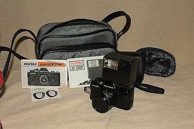 ASAHI PENTAX AUTO 110 FILM CAMERA WITH 1:2.8 50mm LENS FLASH FILTER CASE 6790