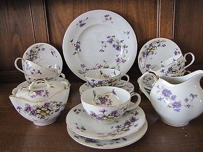 Stunning Meito Ivory Ware~Adele~Violets 21 piece part Tea Set