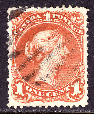 CANADA #22 1c BROWN RED, 1868 LARGE QUEEN, VF, GRID