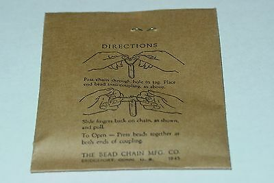 WWII US Army Dog tag chain set in original envelope one large chain and 1 small